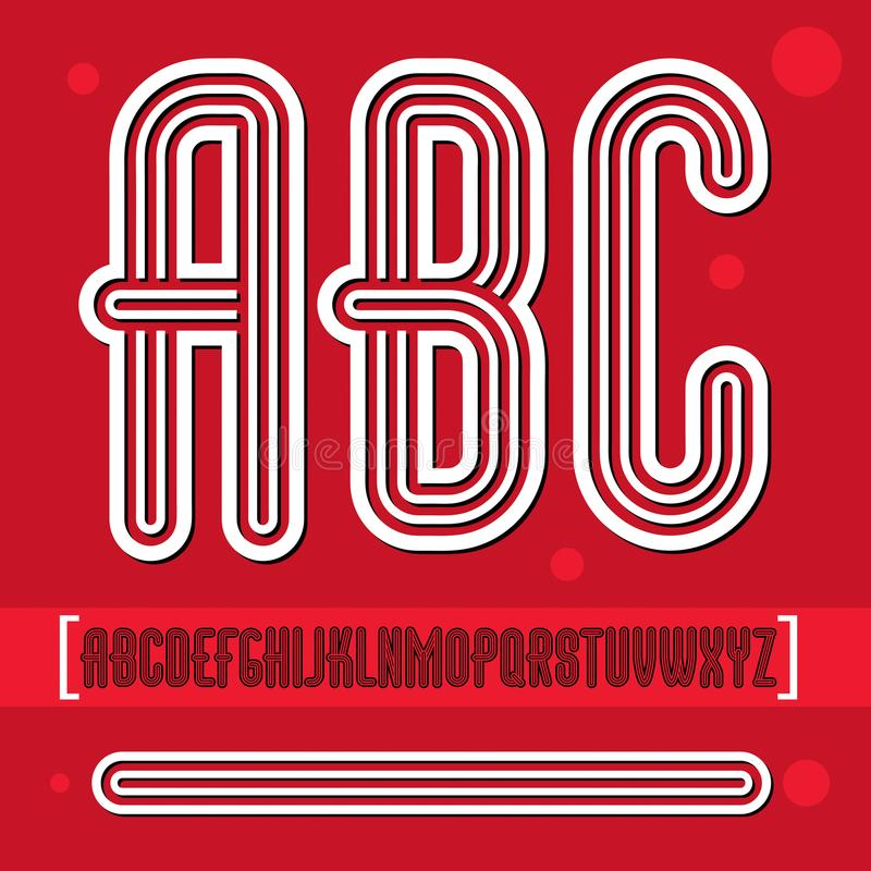 El alfabeto mayúsculo retro de moda del vector pone letras a la colección disco libre illustration