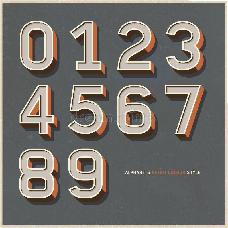 El alfabeto numera estilo retro del color. stock de ilustración