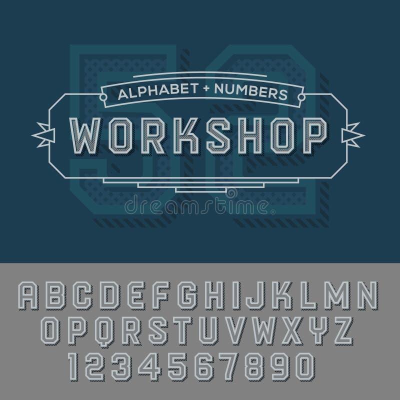 El alfabeto numera estilo retro del color libre illustration