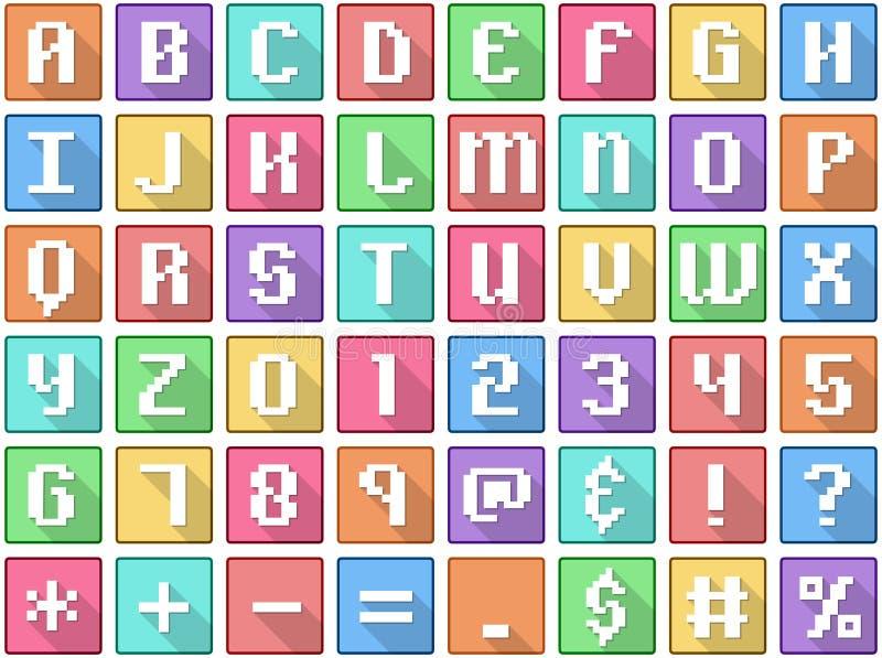 El alfabeto numera símbolos arcada cuadrada plana de los iconos ilustración del vector