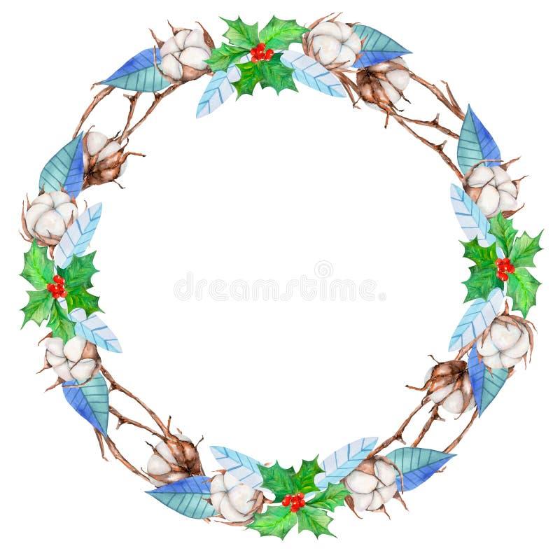 El algodón de la acuarela florece, árbol de acebo y guirnalda azul de la Navidad del invierno de las hojas ilustración del vector