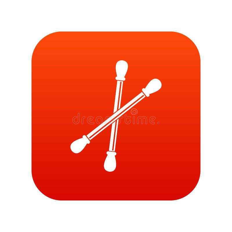 El algodón florece rojo digital del icono stock de ilustración