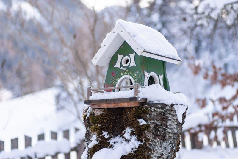 El alimentador del pájaro de madera hecho en casa verde en invierno fotos de archivo libres de regalías