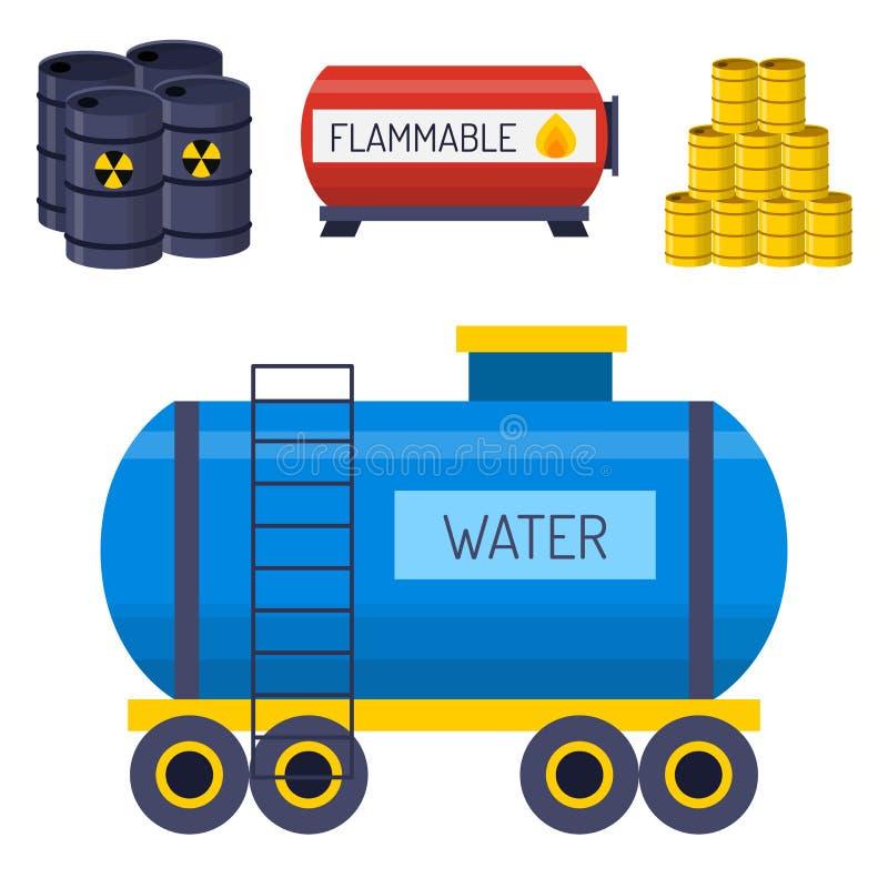 El almacenamiento del barril del combustible del envase de los bidones de aceite rema vector químico del buque de los intestinos  ilustración del vector