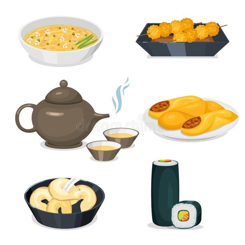 El almuerzo delicioso de China de la comida de la cena de Asia de la cocina de la tradición del plato chino de la comida cocinó e stock de ilustración