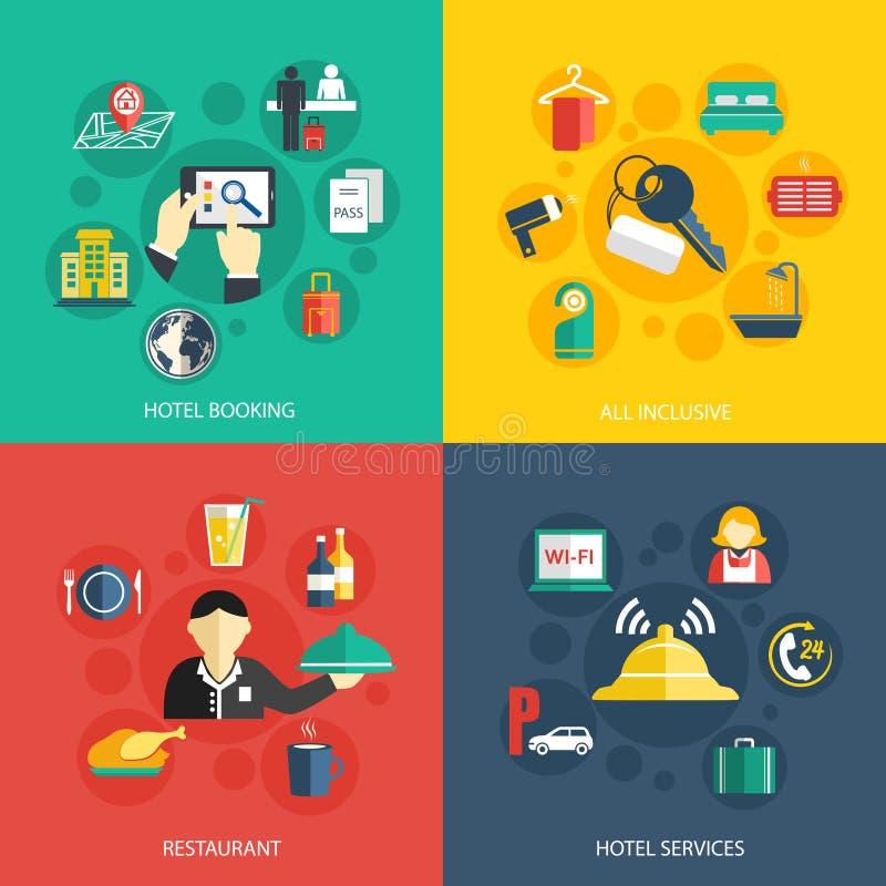 El alojamiento de hotel mantiene concepto stock de ilustración