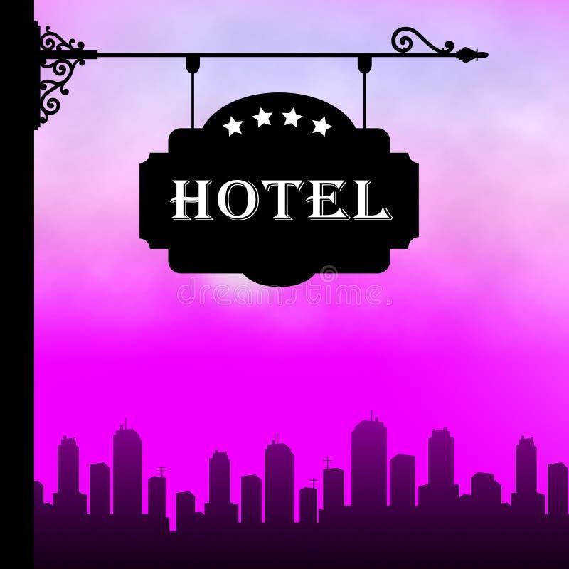 El alojamiento del hotel significa el ejemplo del alojamiento 3d de la ciudad stock de ilustración