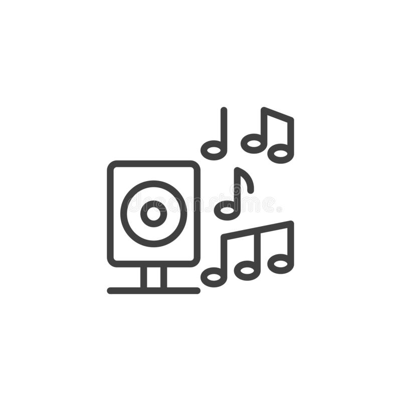 El altavoz y las notas de la música alinean el icono libre illustration