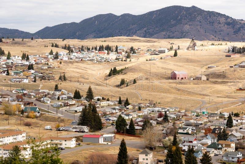 El alto ángulo pasa por alto a Walkerville Montana Downtown los E.E.U.U. Estados Unidos fotografía de archivo libre de regalías