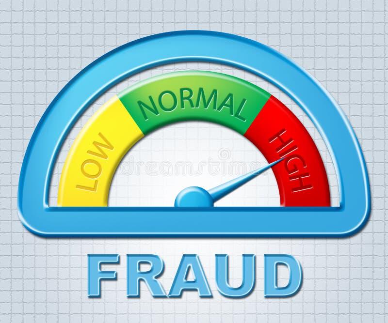 El alto fraude representa Scamming falso y más arriba stock de ilustración