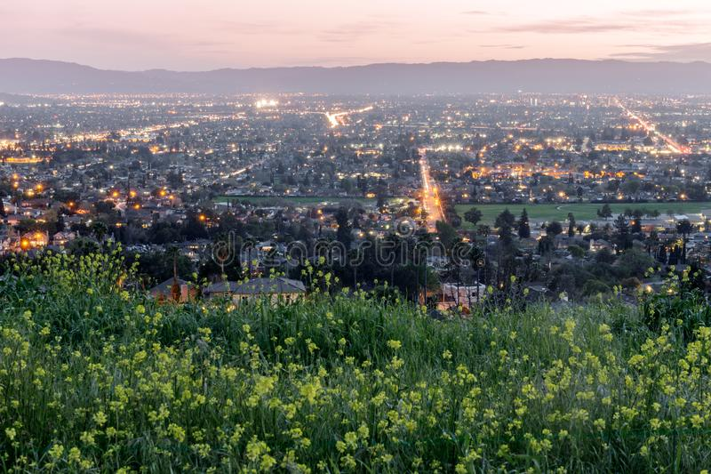El alto sobre Silicon Valley colore? con las mostazas de campo en primavera fotos de archivo