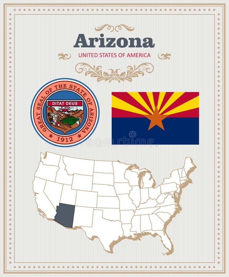 El alto vector detallado fijó con la bandera, escudo de armas, mapa de Arizona Cartel americano Tarjeta de felicitación libre illustration