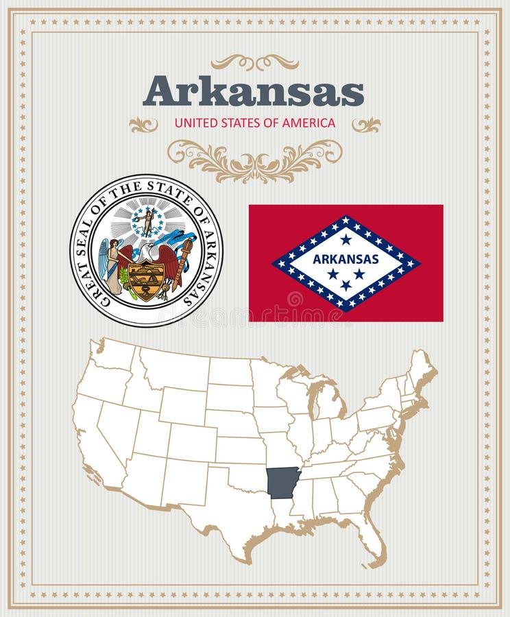 El alto vector detallado fijó con la bandera, escudo de armas, mapa de Arkansas Cartel americano Tarjeta de felicitación stock de ilustración