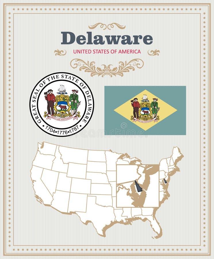 El alto vector detallado fijó con la bandera, escudo de armas, mapa de Delaware Cartel americano Tarjeta de felicitación stock de ilustración