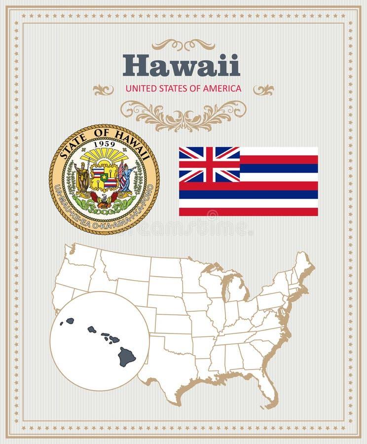 El alto vector detallado fijó con la bandera, escudo de armas, mapa de Hawaii Cartel americano Tarjeta de felicitación libre illustration