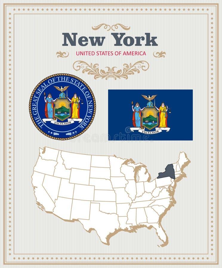 El alto vector detallado fijó con la bandera, escudo de armas Nueva York Cartel americano Tarjeta de felicitación ilustración del vector