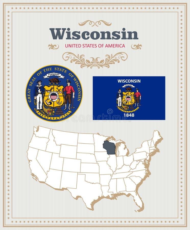 El alto vector detallado fijó con la bandera, escudo de armas Wisconsin Cartel americano Tarjeta de felicitación libre illustration