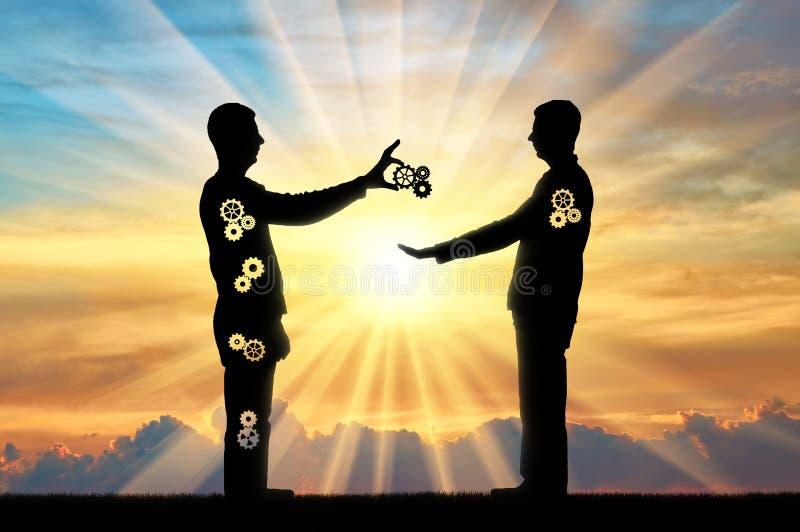 El altruista da al hombre que sacrifica una parte de ellos mismos a otra persona imágenes de archivo libres de regalías