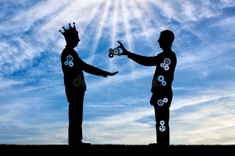 El altruista da el hombre que sacrifica una parte de ellos mismos y al hombre egoísta con las tomas de una corona fotos de archivo