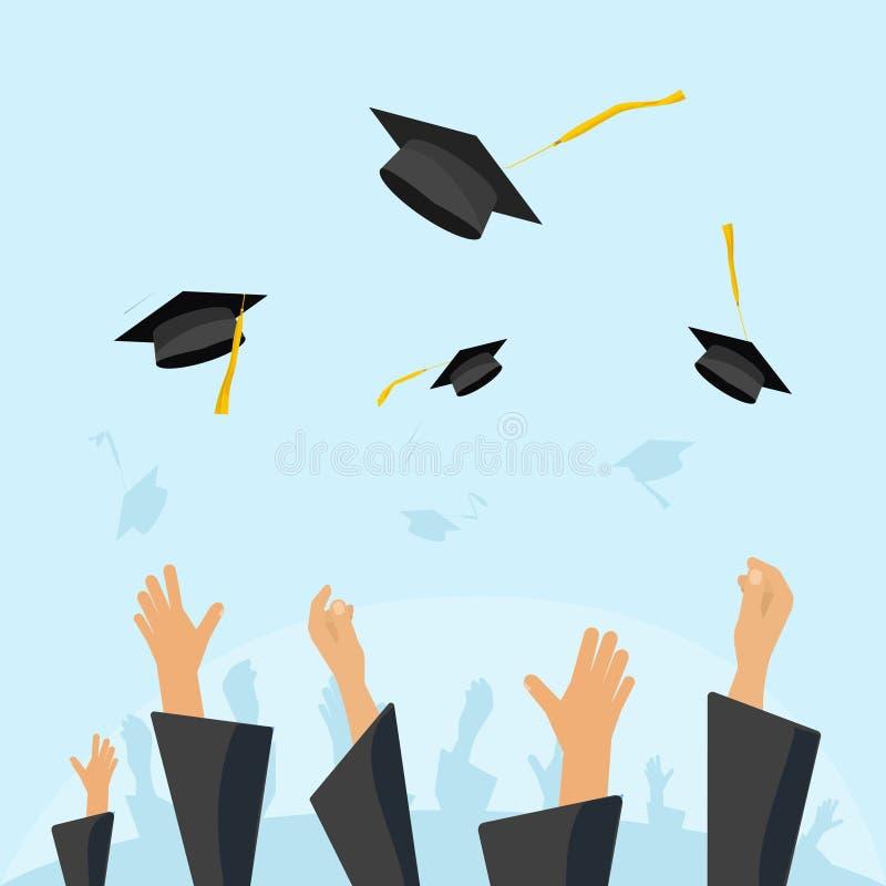 El alumno de los estudiantes de graduación da los casquillos que lanzan del vestido en el aire libre illustration