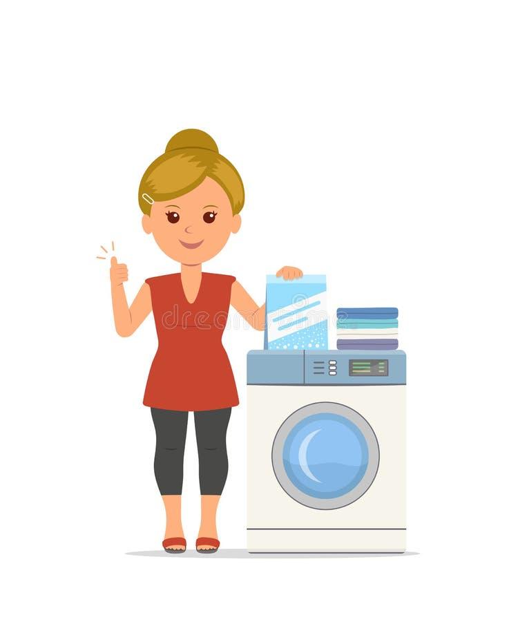El ama de casa de la mujer de la historieta del vector lava la ropa en la lavadora stock de ilustración