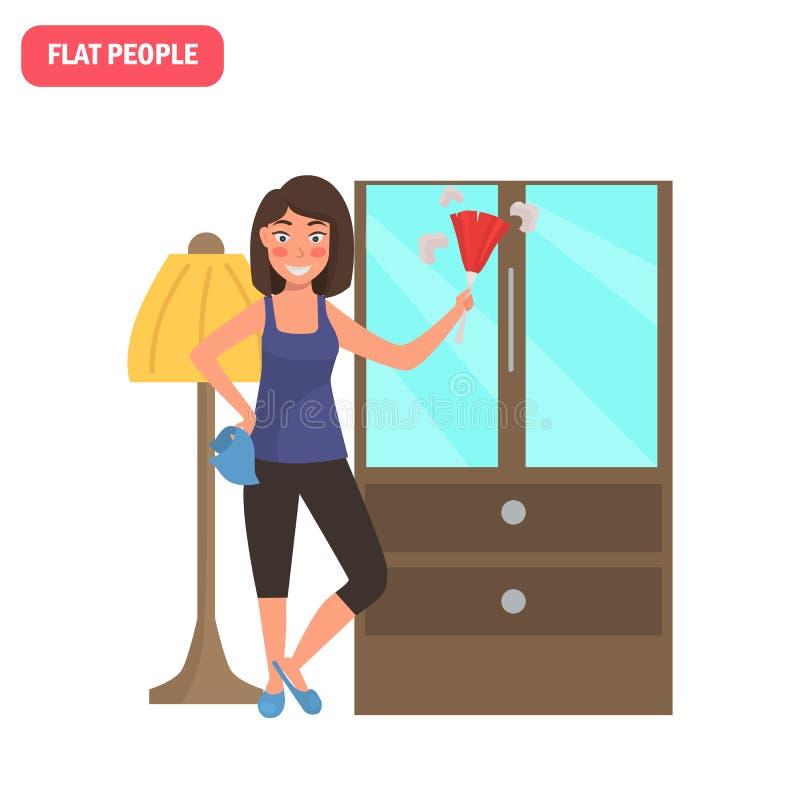 El ama de casa quita el polvo del ejemplo plano del color de los muebles stock de ilustración