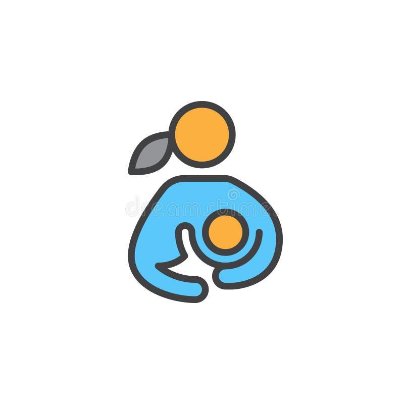 El amamantamiento, mujer que amamantaba a su niño llenó el icono del esquema, línea muestra del vector, pictograma colorido linea libre illustration