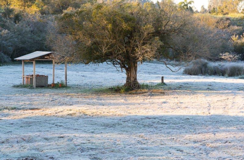 El amanecer con la aparición de escarcha 01 imagenes de archivo