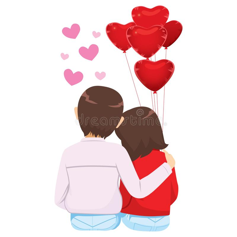 El amante junta los globos rojos del corazón libre illustration