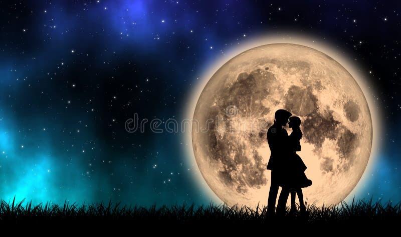 El amante que adquiere campo de hierba con la Luna Llena en noche hermosa stock de ilustración