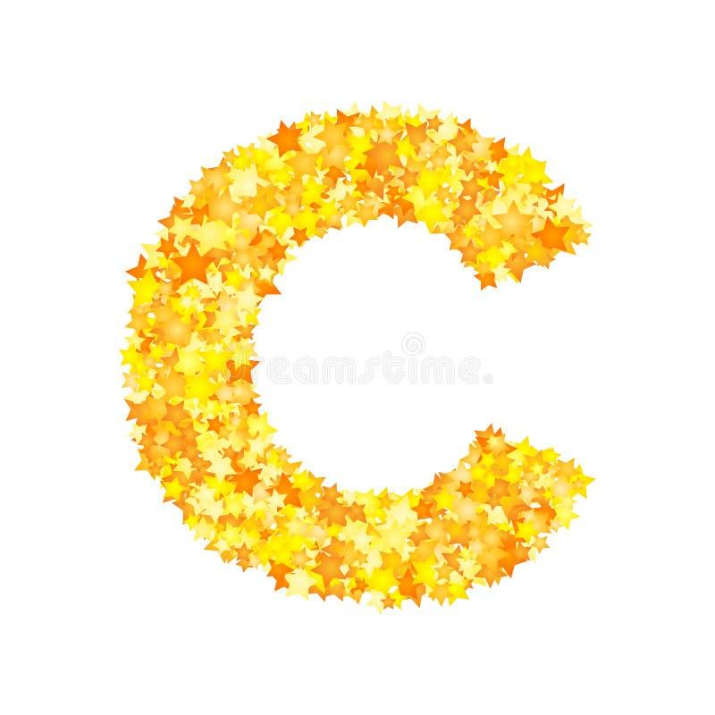 El amarillo del vector protagoniza la fuente, letra C stock de ilustración