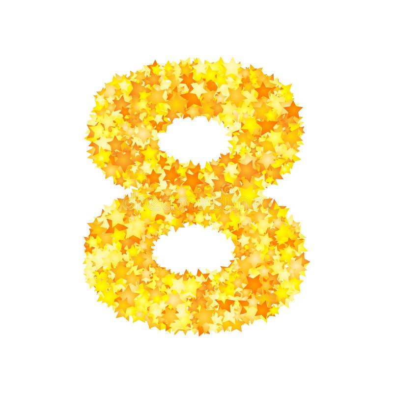 El amarillo del vector protagoniza la fuente, número 8 ilustración del vector