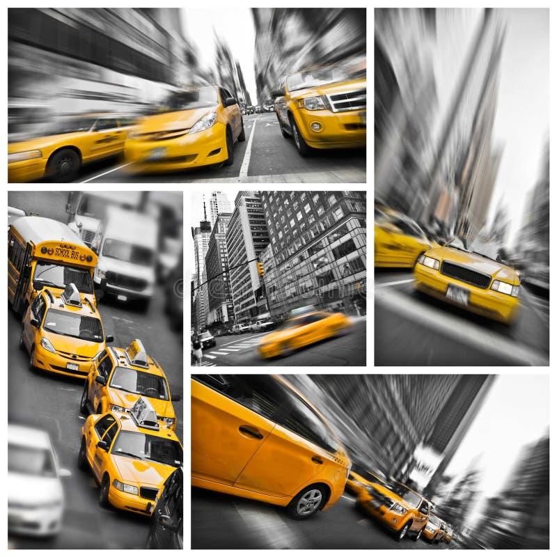 El amarillo lleva en taxi el collage, Nueva York imagen de archivo