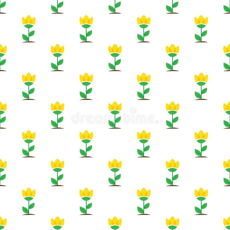 El amarillo plano del vector florece el modelo inconsútil stock de ilustración