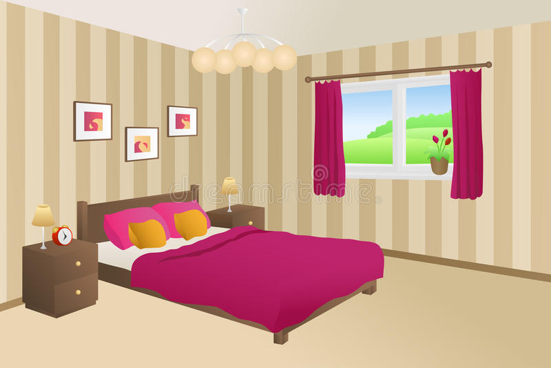 El amarillo rosado beige de la cama del dormitorio moderno soporta el ejemplo de la ventana de las lámparas ilustración del vector