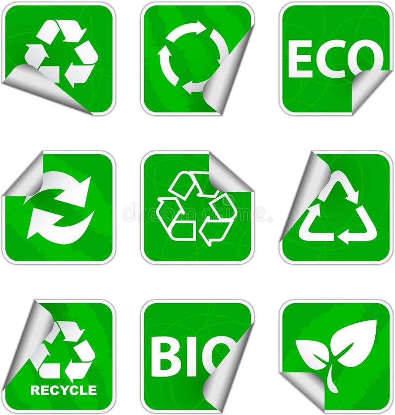 El ambiente verde y recicla iconos fotografía de archivo libre de regalías