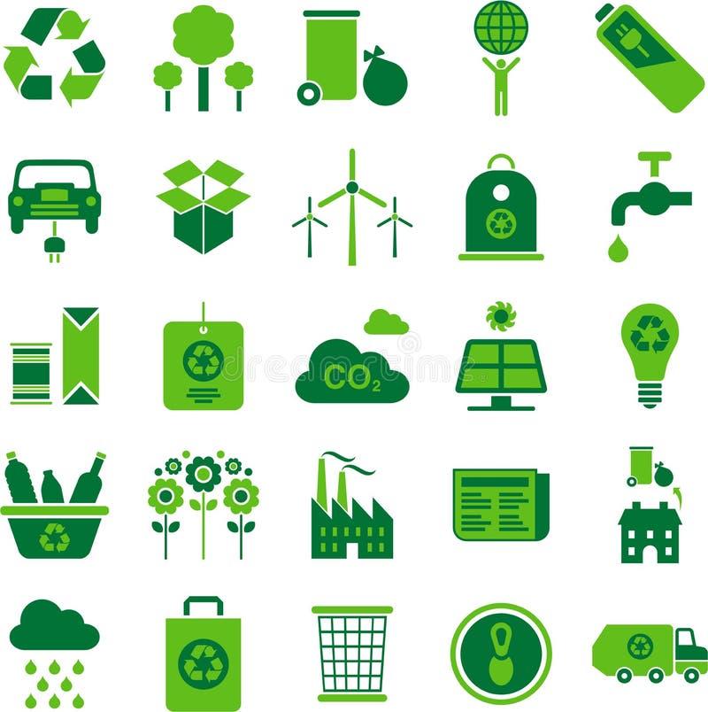 El ambiente verde y recicla iconos stock de ilustración