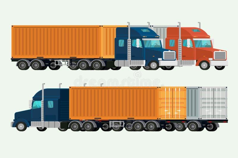 El americano acarrea el buque mercante de la entrega del envase Ilustración stock de ilustración