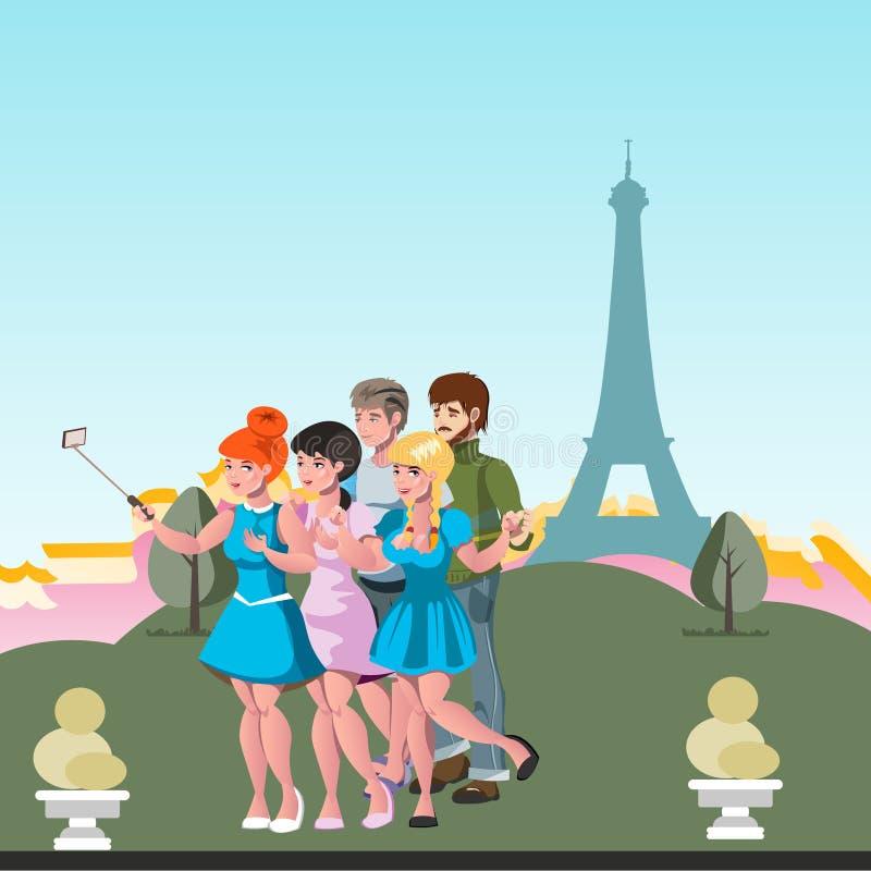 El amigo de los turistas hace el selfie por la torre Eiffel ilustración del vector
