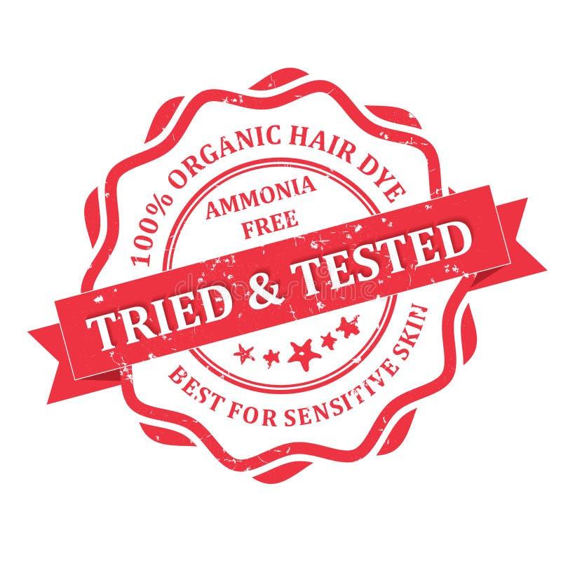El amoníaco orgánico del tinte de pelo libera Probado - y - probado ilustración del vector