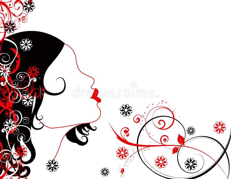 El amor abstracto de las mujeres florece la ilustración   stock de ilustración