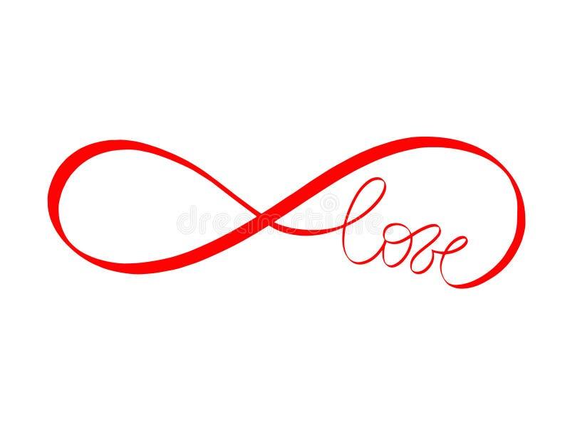 El amor abstracto firma en color rojo Letras de amor sin fin caligrafía del vector Tarjeta Handdrawn de la invitación que se casa stock de ilustración