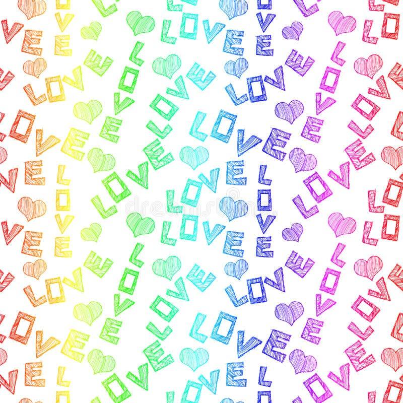 El amor colorido redacta el modelo inconsútil libre illustration