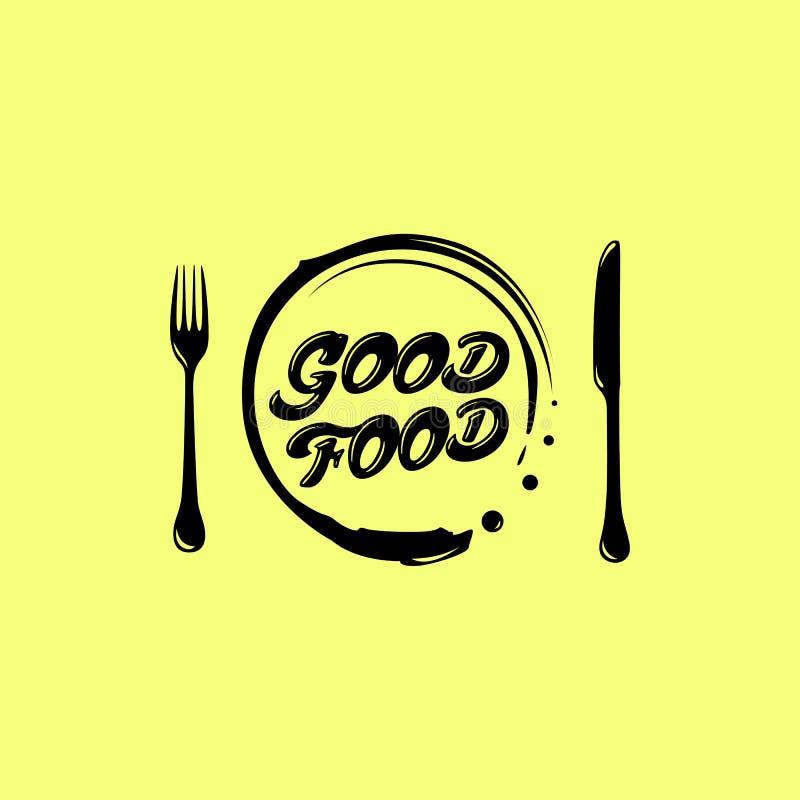 El amor come el logotipo Emblema del café o del restaurante cuchillo con la bifurcación, en un fondo amarillo stock de ilustración