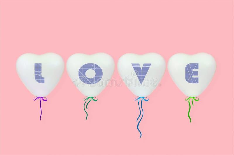 El amor de la inscripción en los globos en forma de corazón blancos en un fondo rosado coralino fotografía de archivo libre de regalías