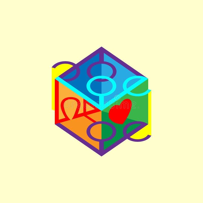 El amor de la inscripción, poniendo letras en púrpura del cubo 3d Elementos con la flecha, diseño del diseño del logotipo Ilustra ilustración del vector