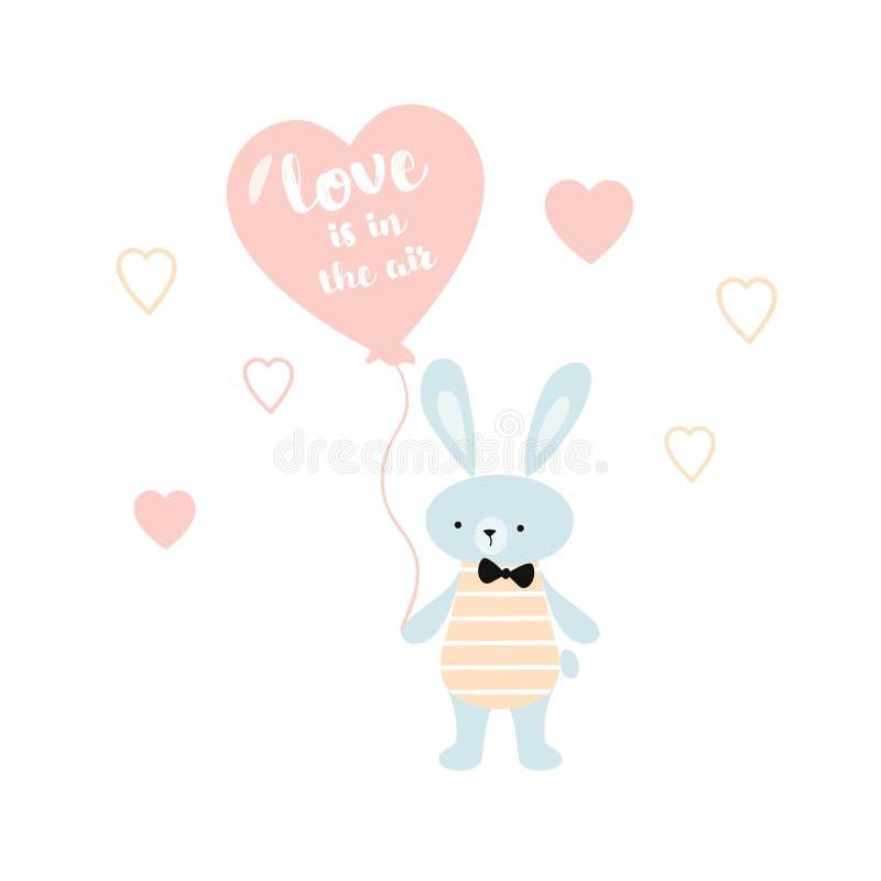 El amor de la tarjeta de la fiesta de bienvenida al bebé está en el conejito del aire con un globo del corazón Car?cter lindo del stock de ilustración