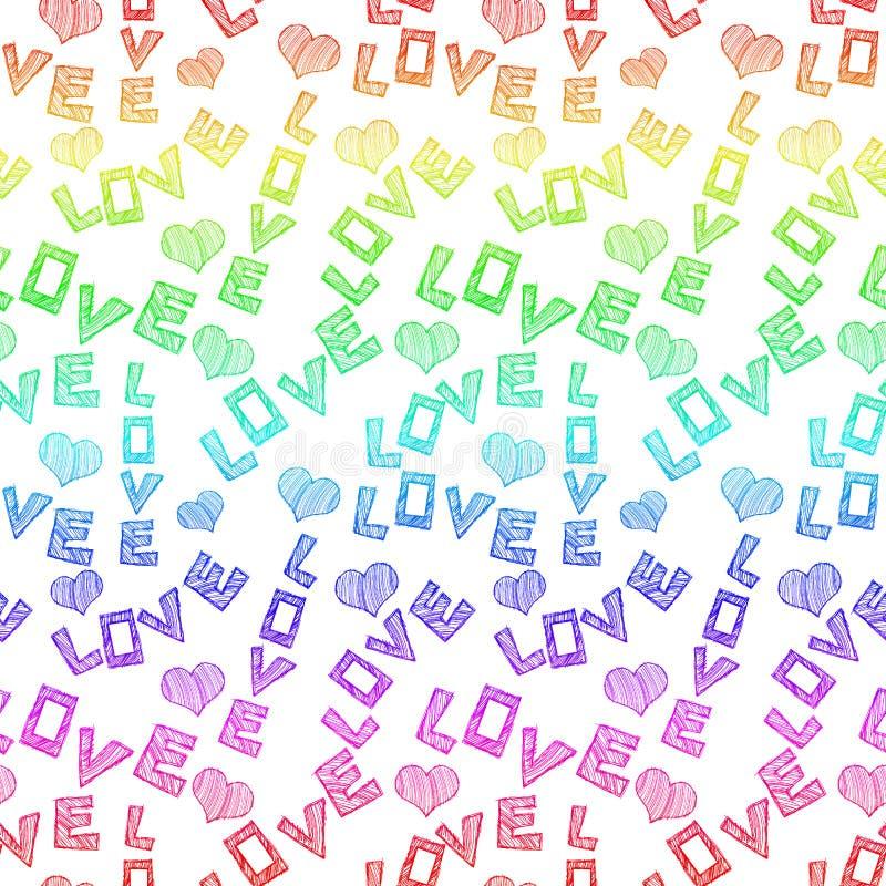 El amor del arco iris redacta el fondo inconsútil stock de ilustración