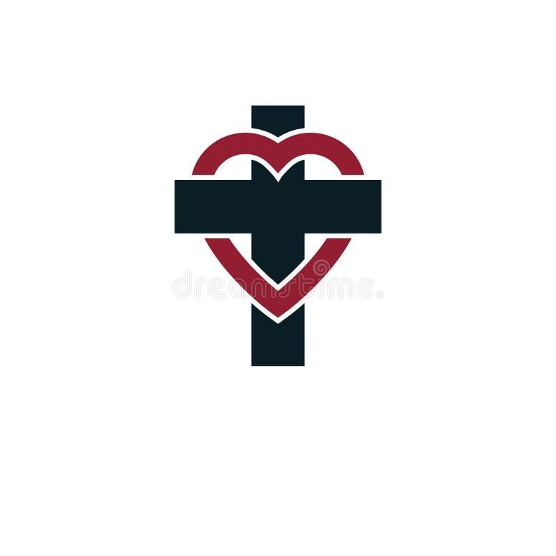 El amor del diseño creativo del símbolo de dios combinó con Christia libre illustration