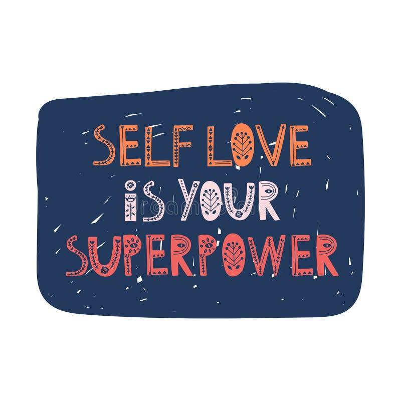 El amor del uno mismo es su superpotencia Letras exhaustas de la mano del vector, estilo escandinavo Cita inspirada positiva del  libre illustration